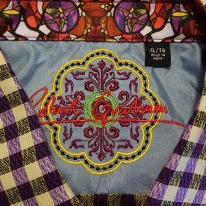 Robert Graham Shirts - Robert Graham Purple & White Check Shirt XL EUC!